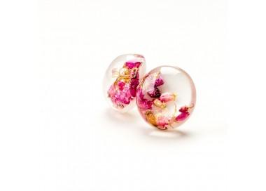 Kolczyki różowe kwiaty i srebro.