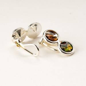 Oryginalne srebrne klipsy do uszu ręcznie robione artystyczne autorskie 1