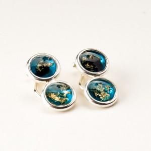 Niebieskie klipsy srebrne do uszu artystyczne ręcznie zrobione 2