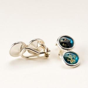 Niebieskie klipsy srebrne do uszu artystyczne ręcznie zrobione 1