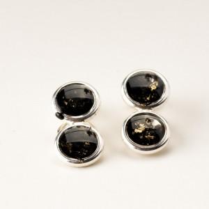 Czarne ręcznie robione klipsy do uszu biżuteria artystyczna srebro 925 z 2
