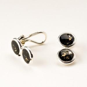 Czarne ręcznie robione klipsy do uszu biżuteria artystyczna srebro 925 z 1