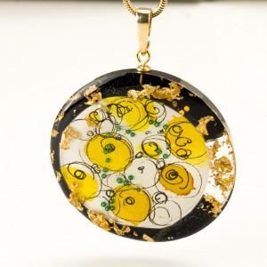 """Złoty naszyjnik artystyczny """"abstrakcje"""" ręcznie robiona biżuteria artystyczna 1"""