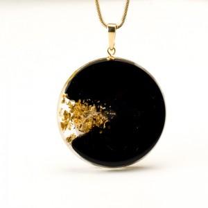 """Złoty naszyjnik artystyczny """"abstrakcje"""" ręcznie robiona biżuteria artystyczna 2"""