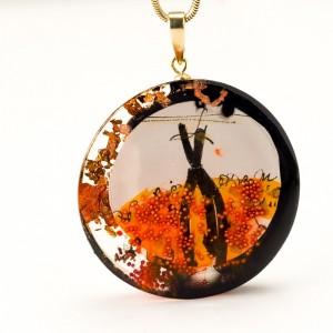 Naszyjnik artystyczny pomarańczowy 1