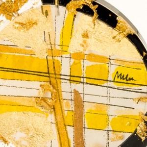 Okazały naszyjnik artystyczny bogato zdobiony płatkami złota na złotym łańcuszku czerń i złoto 2
