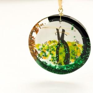 Oliwkowo zielony naszyjnik artystyczny 2