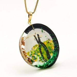 Oliwkowo zielony naszyjnik artystyczny 1