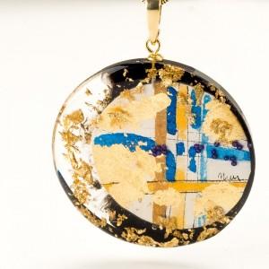 Okazały wisior ręcznie malowany naszyjnik biżuteria artystyczna ręcznie robiona 2