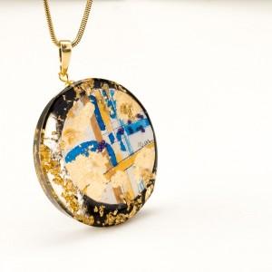 Okazały wisior ręcznie malowany naszyjnik biżuteria artystyczna ręcznie robiona 1