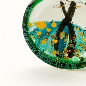 Naszyjnik złocony artystyczny zielony 2