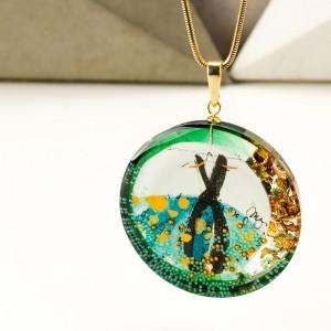 Naszyjnik złocony artystyczny zielony 1