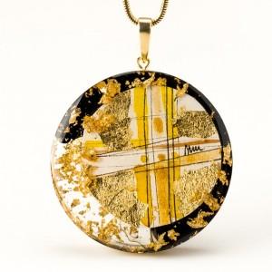 Artystyczny naszyjnik rękodzieło pozłacany złoty 1