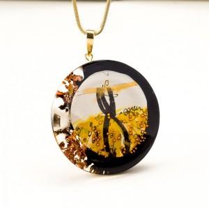 Złoto czarny naszyjnik artystyczny 2