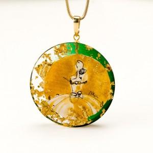 Zielono złoty naszyjnik artystyczny 1