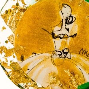 Zielono złoty naszyjnik artystyczny 2