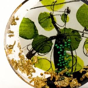 Oryginalny naszyjnik handmade artystyczny ręcznie malowany na złotym łańcuszku 2