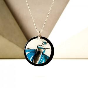 Naszyjnik personalizowany srebrny łańcuszek z zawieszką