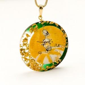 Naszyjnik dwukolorowy złoto zielony artystyczny do zielonej sukienki zieleń butelkowa na złotym łańcuszku 1