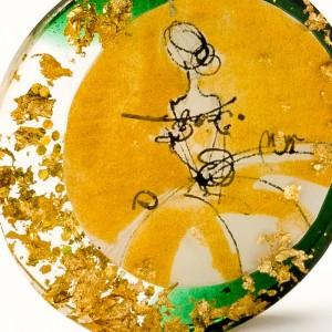 Naszyjnik dwukolorowy złoto zielony artystyczny do zielonej sukienki zieleń butelkowa na złotym łańcuszku 2