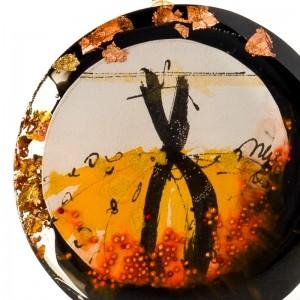 Ręcznie malowany naszyjnik do brązowej sukienki artystyczny złoty 2