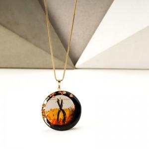Ręcznie malowany naszyjnik do brązowej sukienki artystyczny złoty 1