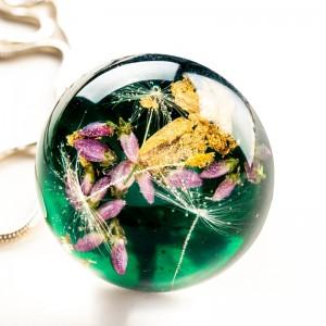 Biżuteria artystyczna- zielony naszyjnik.