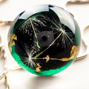 Naszyjnik zielony damski-biżuteria artystyczna.