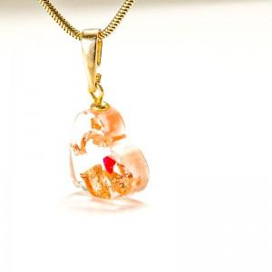 Biżuteria artystyczna- serce z miedzianymi płatkami.