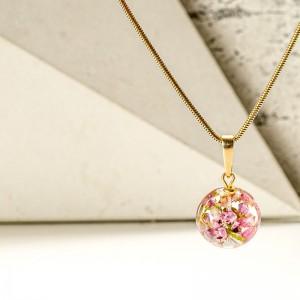 Biżuteria z żywicy- naszyjnik z wrzosem.1