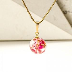 Biżuteria z żywicy- naszyjnik z kwiatami.