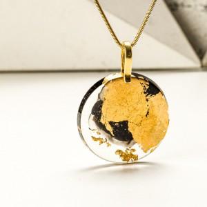 Biżuteria z żywicy- naszyjnik złoty.1