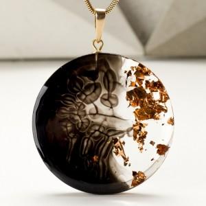 Unikatowa biżuteria artystyczna- miedziany naszyjnik.