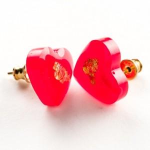 Kolczyki sztyft pozłacane, serce czerwone na Walentynki  1