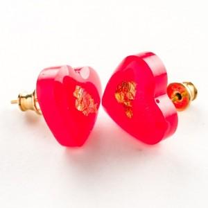 Kolczyki sztyft pozłacane, serce czerwone na Walentynki