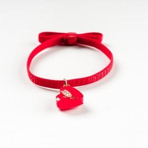 Bransoletka pozłacana z sercem czerwonym 1