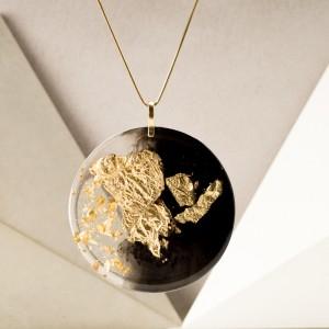 Geometryczny naszyjnik, złocona biżuteria.