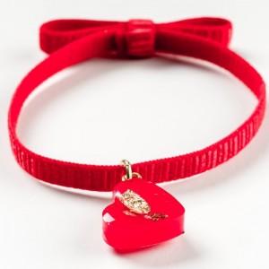 Bransoletka pozłacana z sercem czerwonym