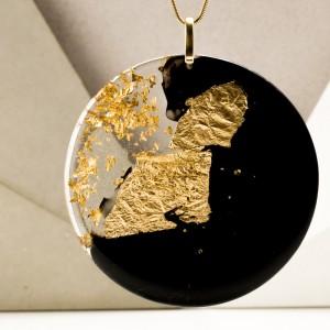 Geometryczna biżuteria autorska, złocona.