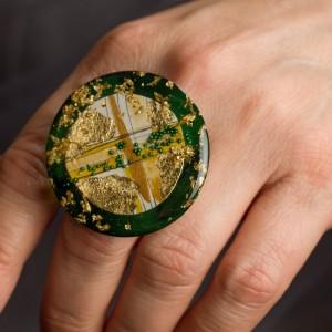 Pierścionek artystyczny Natura ręcznie wykonany od Krolikovska biżuteria artystyczna 1