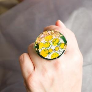 """Pierścionek artystyczny """"Marzenia"""" z dużym żółto złoto zielonym oczkiem to biżuteria artystyczna 1"""