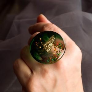 Pierścionek artystyczny Zieleń biżuteria artystyczna na walentynki 2