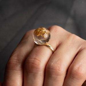 Pierścionek złocony z dmuchawcem 1