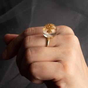 Pierścionek złocony z dmuchawcem 2