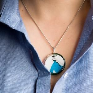 Niebieski naszyjnik srebrny 2