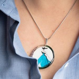 Niebieski naszyjnik srebro 925