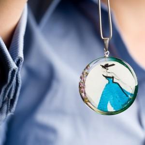 Niebieski naszyjnik srebrny 1