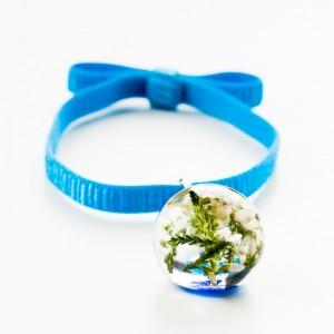 Biżuteria z suszonymi kwiatami, bransoletka.