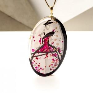 Naszyjnik damski z malowaną grafiką, biżuteria artystyczna od Krolikovska