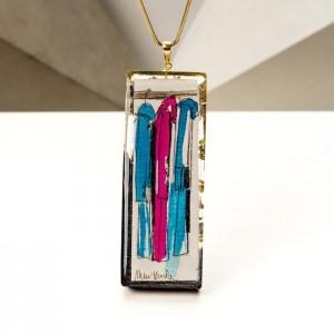 Naszyjnik ręcznie malowany - biżuteria artystyczna na prezent dla dziewczyny